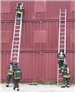 Firefighters climbing ladders
